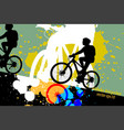 silhouette woman ride bicycle scene vector image vector image