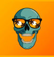 skull in sunglasses on beach vector image vector image