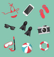 summer collection accessories set vector image