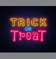 trick or treat neon text design template vector image vector image