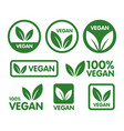 vegan icon set bio ecology organic logos and icon vector image vector image