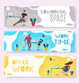 work time and office management header banner set vector image vector image