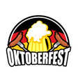 oktoberfest sausage and beer logo emblem for vector image