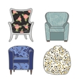 Set of colorfull and patterned armchairs vector image