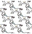 pattern with cute unicorns cloudsrainbow vector image