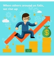 Growing business in financial crisis concept When vector image