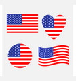 american flag icon set waving round heart shape vector image