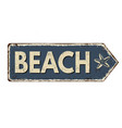 beach vintage rusty metal sign vector image
