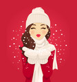 blowing snowflakes vector image vector image