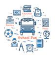 blue round school bus concept vector image