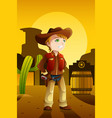 boy dressed up as a cowboy vector image