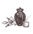 burial urn with ashes deceased with white lily vector image vector image