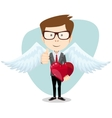Businessman and Red Heart vector image vector image