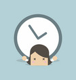 businesswoman with big clock over her back vector image vector image