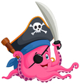 Cartoon pirate octopus vector image vector image