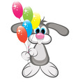 cartoon rabbit with colorful balloons vector image vector image