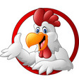 cartoon rooster mascot presenting vector image vector image