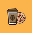 coffee drink and cookie vector image vector image