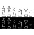 complete set of black and white chess pieces king vector image vector image