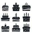 cream cake birthday icon set simple style vector image vector image