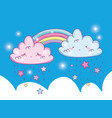 cute rainbow with fluffy clouds and stars vector image vector image