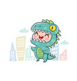 dragon in kawaii style vector image