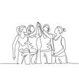 fitness concept one line drawing group of vector image