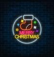glowing neon christmas sign with christmas sock vector image vector image