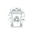 green recycling bin with recycle line symbol vector image