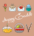 greeting card with icon and handwritten word happy vector image vector image