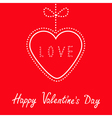 Hanging red heart with bow Happy Valentines Day vector image vector image