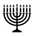 hanukkah candelabrum with candles icon vector image vector image