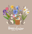 happy easter card with cute bunnies barabbit vector image vector image