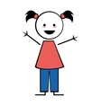 Happy girl with pigtails icon stick figure vector image