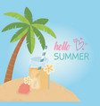hello summer poster with seascape scene icons vector image vector image