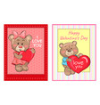 i love you happy valentines day posters set bears vector image vector image
