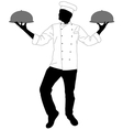 kitchen chef serving a meal vector image vector image