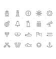 line navy marine sailing and sea icons vector image
