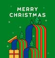 merry christmas flat outline cartoon gift box card vector image