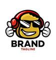 modern cartoon character toast in headphones logo vector image vector image