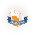 oktoberfest blue ribbon mug with beer image vector image vector image