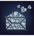 Open envelope with hearts made a lot of diamonds vector image
