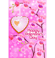 pink card with orchids and heart vector image vector image