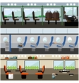 Public transport interior concept banners vector image vector image