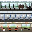 Public transport interior concept banners vector image