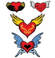 Red heart of angel and devil wings vector image vector image