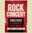 rock concert retro poster design on old paper text vector image vector image