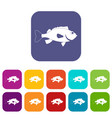 sea bass fish icons set flat vector image vector image