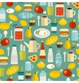 Seamless pattern with simple food vector image