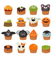 set of halloween cupcakes vector image vector image